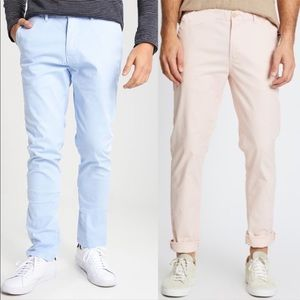 Bundle of 2 Scotch & Soda Stuart pants blue pink